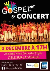 Concert 2 décembre 2018 L'Isle sur la Sorgue